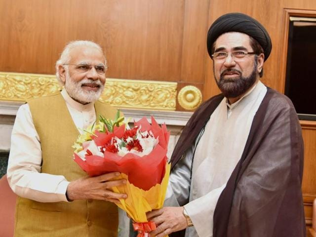 Prime Minister Narendra Modi in a meeting with Shia Cleric Maulana Kalbe Jawwad and other members of a delegation in New Delhi on Wednesday.