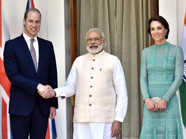 Britain's  Duke and Duchess of Cambridge, Prince William and Kate Middleton with Prime Minister Narendra Modi at Hyderabad House in New Delhi on April 12.