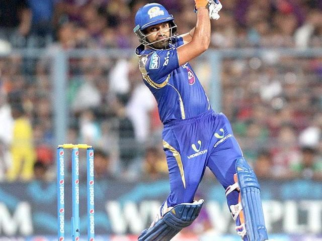 Mumbai Indians captain Rohit Sharma in action during the IPL 2015 match against Kolkata Knight Riders at Eden Gardens in Kolkata.