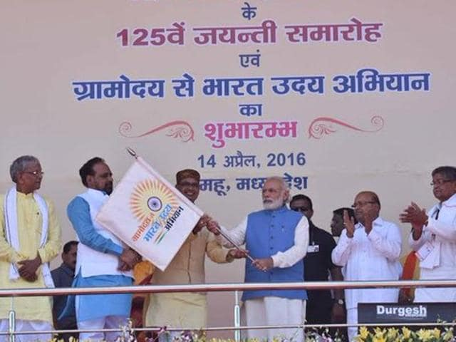 PM Narendra Modi during the launch of 'Gram Uday se Bharat Uday' at Mhow in Madhya Pradesh.