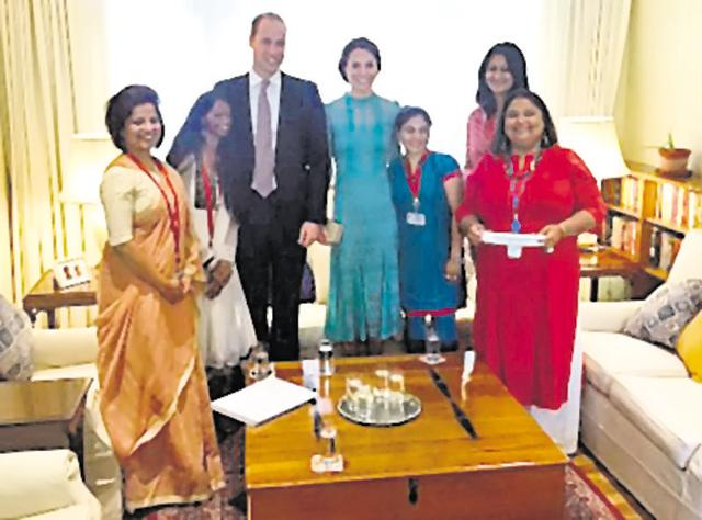 Lead campaigner of Stop Acid Attacks, Laxmi with William and Kate at British High Commission.
