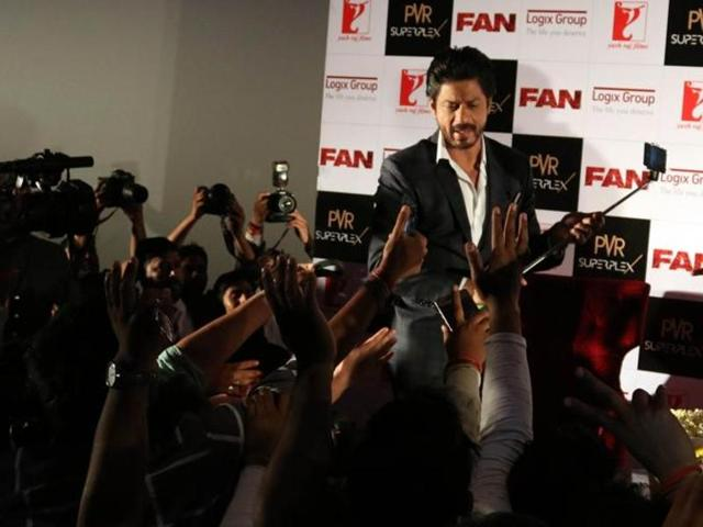 Actor Shah Rukh Khan during a press conference organised to promote his upcoming film Fan in New Delhi, on April 12. (IANS)