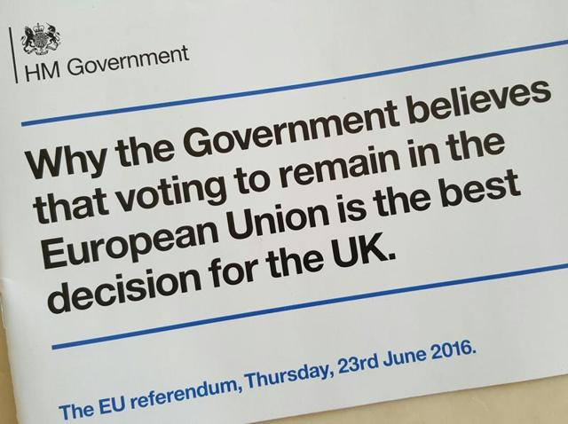 Pro-EU leaflets sent to the British public by the David Cameron government.