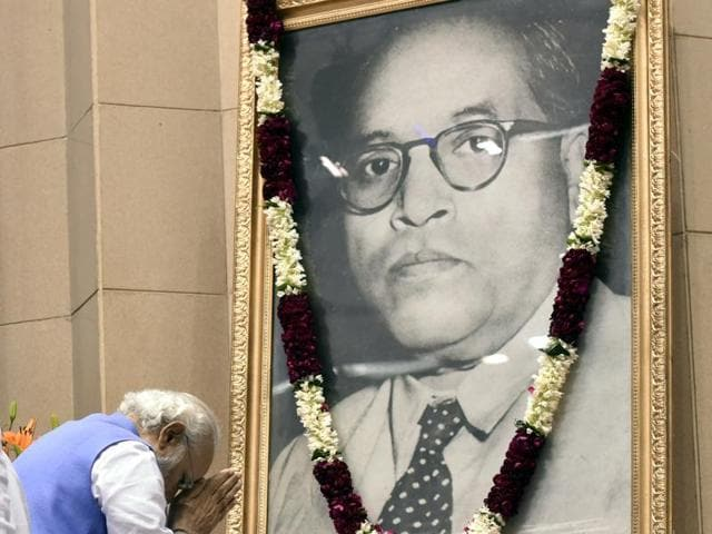 File photo of Prime Minister Narendra Modi paying homage to Dr Ambedkar before laying foundation stone of Dr. Ambedkar National Memorial at Vigyan Bhavan in New Delhi.