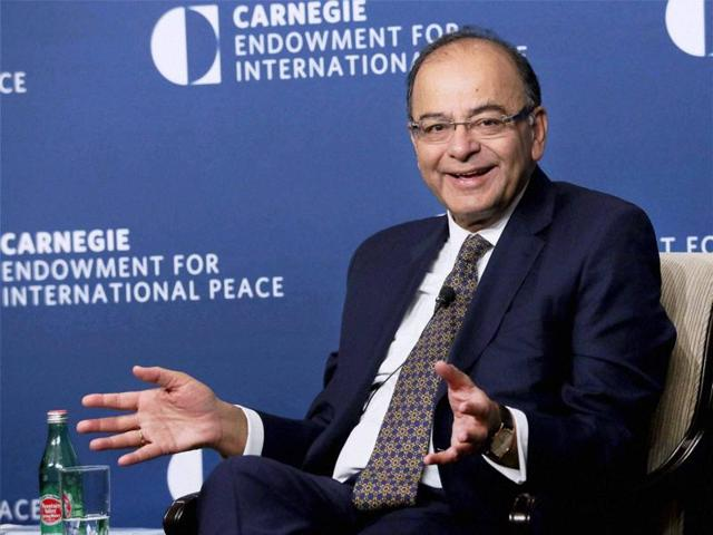 Union finance minister Arun Jaitley speaks at Carnegie Endowment on the sidelines of 2016 Spring Summit of World Bank/International Monetary Fund in Washington DC on Wednesday.