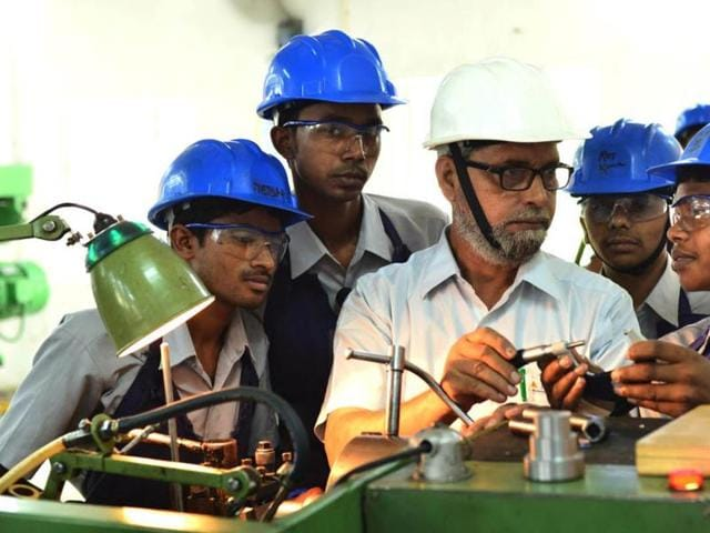 Underprivileged students interacting with employees at Tata Steel, Jamshedpur, April 7.