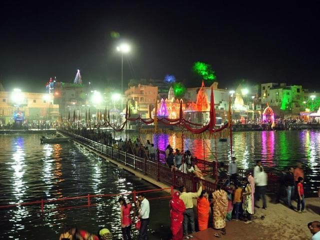 Buildings on the bank of river Kshipra are decorated ahead of Simhastha fair.