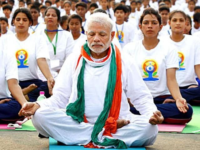 Prime Minister Narendra Modi had led over 35,000 people at the first International Day of Yoga at Rajpath, New Delhi, on June 21, 2015.(HT file photo)
