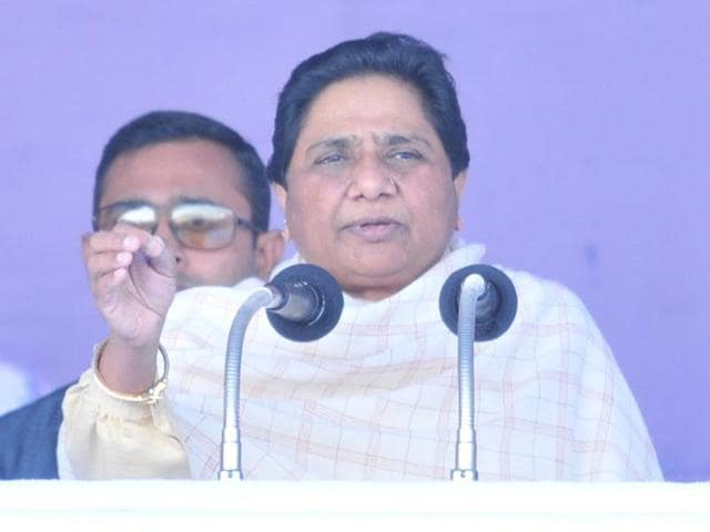 BSP chief Mayawati addresses a rally at Nawanshahr in Uttar Pradesh.