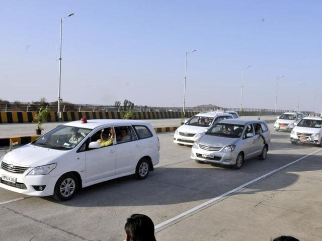 CM's convoy takes a ride on newly constructed railway over bridge on Super Corridor in Indore on Thursday.