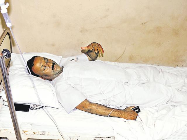 Gagan Bihari Bariki, chief weightlifting coach of the National Institute of Sports, undergoing treatment at a private hospital in Patiala on Wednesday.