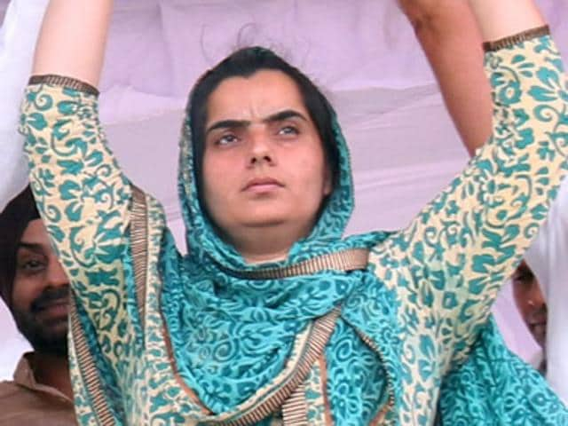 Aam Aadmi Party's women wing president Baljinder Kaur  supervised the stage management at the party's Talwandi Sabo rally on Wednesday.
