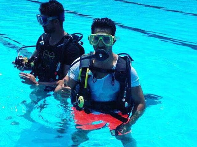 Actor Varun Dhawan is being trained to shoot for an underwater sequence for his film Dishoom.