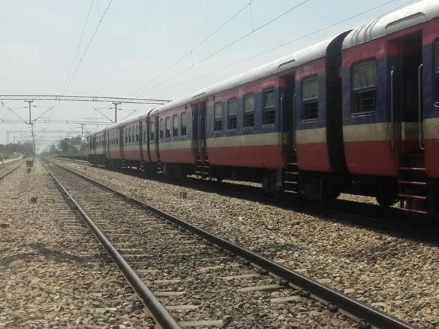The Jalandhar-Udhampur train while it was halted at Kandrori in Kangra district of Himachal Pradesh following a bomb scare on Friday.