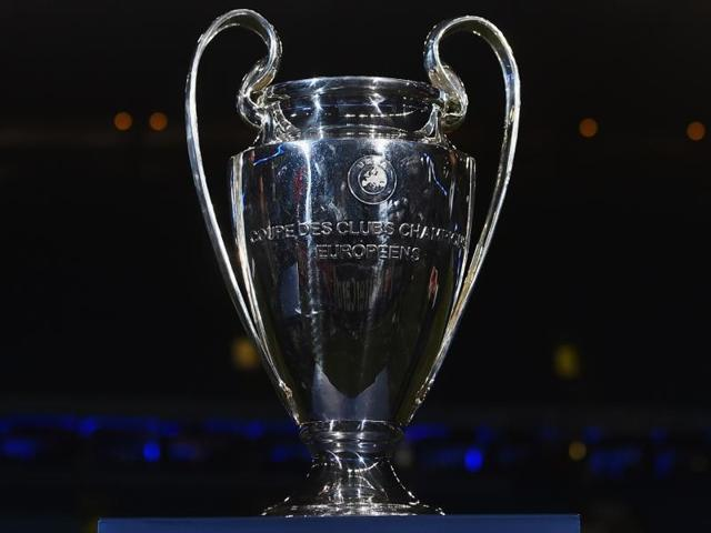 Afile photo of the UEFAChampions League trophy.