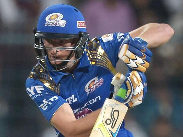 Mumbai Indians cricketer Jos Buttler and captain Rohit Sharma gestures during the 2016 Indian Premier League.
