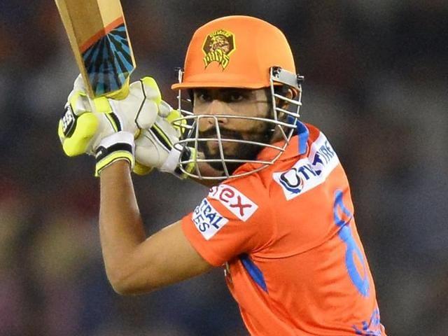 Gujarat Lions batsman Ravindra Jadeja plays a shot during the 2016 Indian Premier League (IPL).