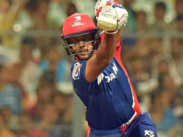 Delhi Daredevils batsman Mayank Agarwal in action against Kolkata Knight Riders during the IPL match at Eden Garden in Kolkata on April 10.
