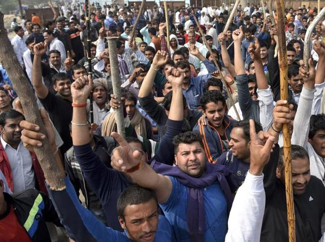 Jat community members demand reservation in government services in Bahadurgarh in Haryana.