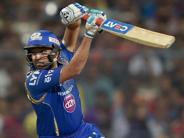 Mumbai Indian batsman Rohit Sharma plays a shot during IPL Match against KKR in Kolkata.