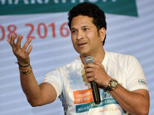 Cricketer Sachin Tendulkar during the announcement of the Mumbai half marathon on Thursday.
