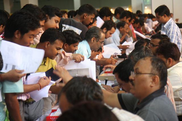 People submitting their income tax return form New Delhi.  The government to soon launch a single-window – e-nivaran – to solve taxpayers' grievances.