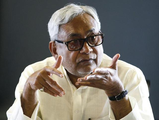 Bihar Chief Minister Nitish Kumar at the Hindustan Times office in New Delhi.