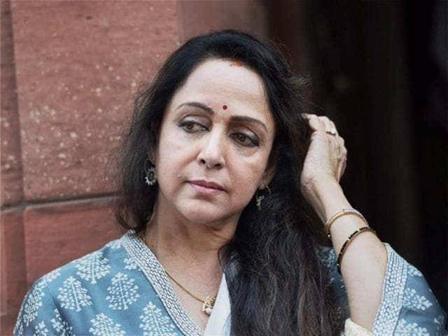 BJP MP Hema Malini during the 2016 Budget session at Parliament House in New Delhi.