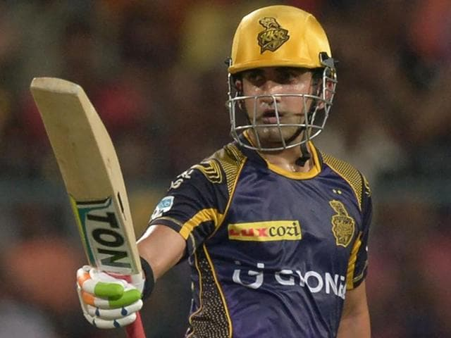 KKR batsman Gautam Gambhir acknowledges the cheers from the crowd.