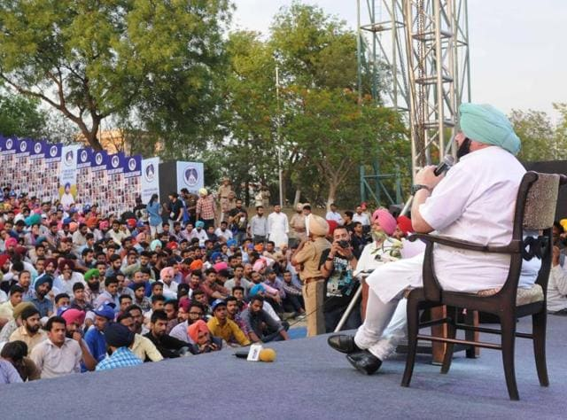 Punjab Congress chief Captain Amarinder Singh interacting with youngsters at Yadvindra Public School in Patiala on Friday.