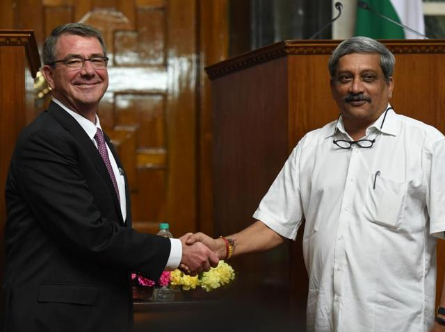 """In a joint press conference with US defence secretary Ashton Carter, defence minister Manohar Parrikar said on Tuesday that the countries had agreed """"in principle"""" to conclude the agreement soon. They, however, clarified that the pact would not result in US troops being deployed on Indian soil."""
