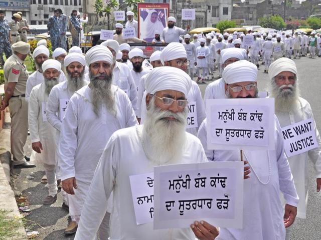 A Namdhari protest in Ludhiana on Friday.