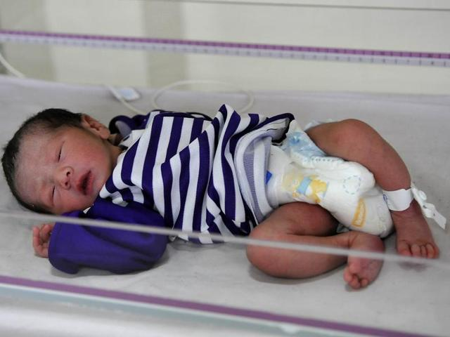 The newborn baby girl who was found dumped in a public toilet at a park in Phase 3 in SAS Nagar on Friday.