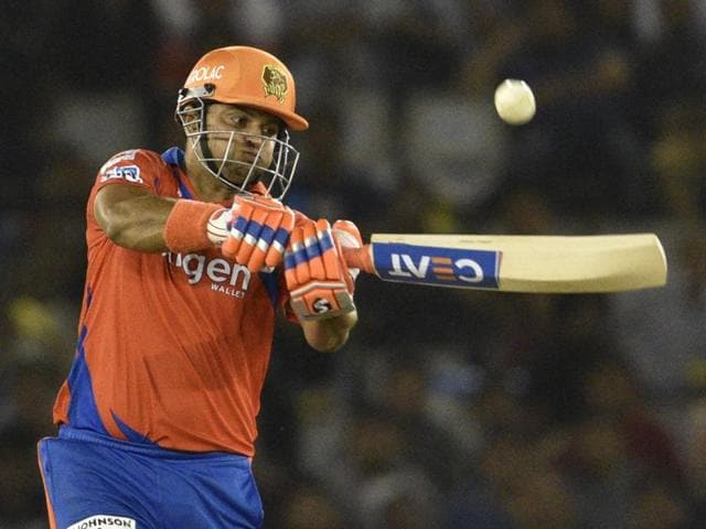 Suresh Raina of Gujarat Lions team play a shot against Kings XI Punjab during the IPL match at PCA IS Bindra stadium in Mohali on April 11, 2016.