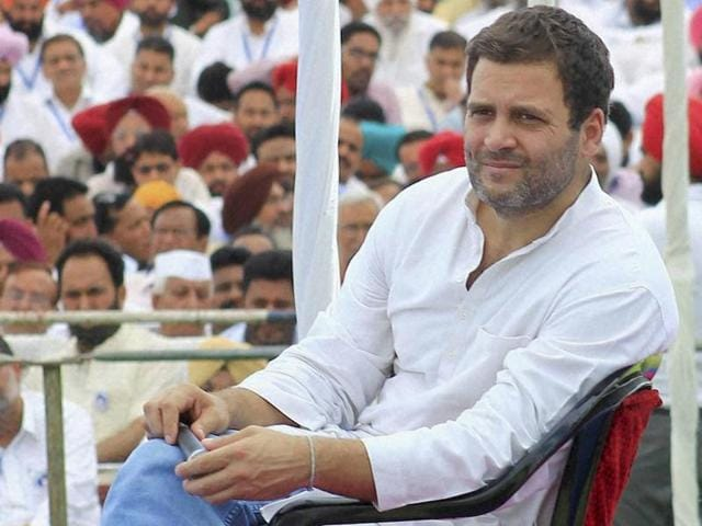 Congress vice-president Rahul Gandhi interacting with party workers and leaders at a programme in Zirakpur near Chandigarh on Saturday.