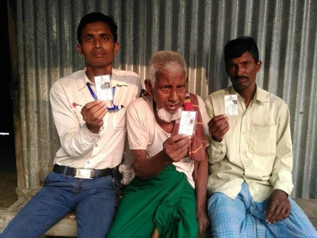 Residents of erstwhile Bangladeshi enclaves in West Bengal with their photo voter ID cards.