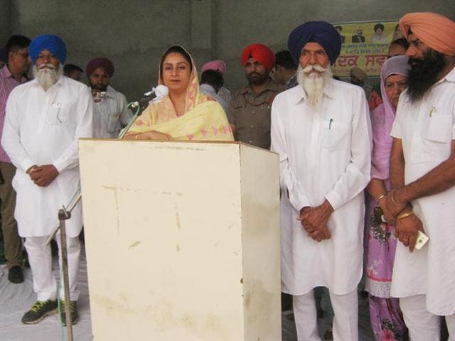 "Union minister of food processing industries Harsimrat Kaur Badal during a ""sangat darshan"" programme in Mansa."