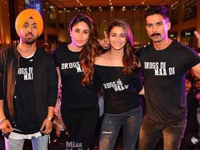 Shahid Kapoor, Alia Bhatt, Kareena Kapoor and Punjabi singer and actor Diljit Dosanjh during the trailer launch of film Udta Punjab in Mumbai.