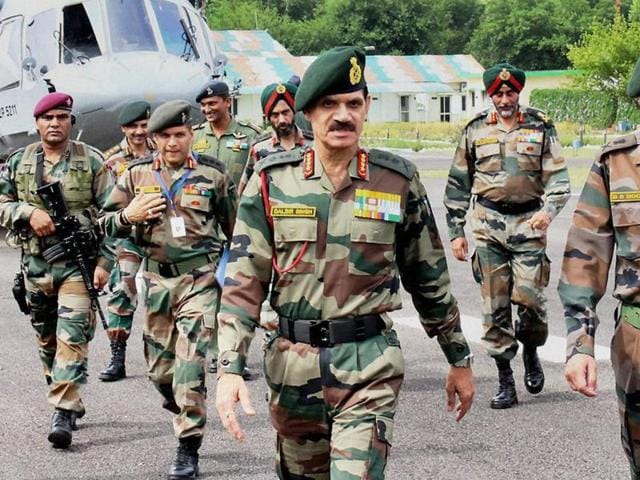 Indian Army Chief Dalbir Singh Suhag arrives at  the Headquarters of Northern Command during his official visit in Udhampur on Sunday.