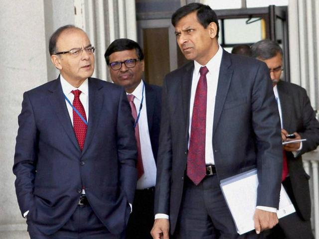 Finance minister Arun Jaitley with RBI governor Raghuram Rajan at IMF 2016 Spring Summit in Washington DC on Friday.
