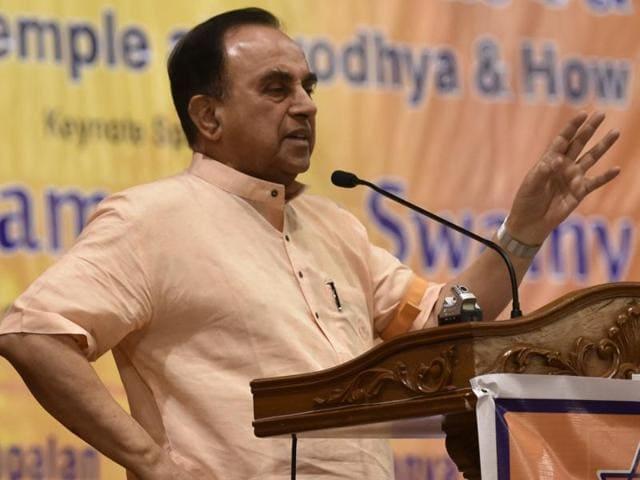 Subramanian Swamy at the seminar on Sunday.