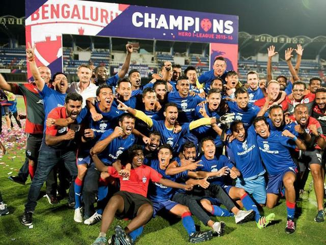 Bengaluru FC players celebrating their I-League title win after beating Salgaocar FC 2-0.