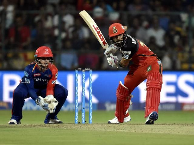 Royal Challengers Bangalore Virat Kohli in action against Delhi Daredevils during their IPL match.