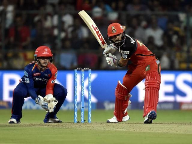 Royal Challengers Bangalore Virat Kohli in action against Delhi Daredevils during their IPL match.