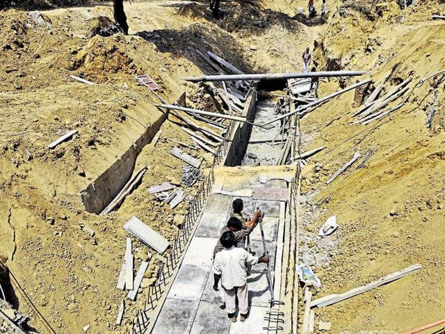 Most of the rainwater drains are concreted in Gurgaon, thereby not allowing water to seep into the ground.