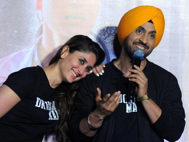 Kareena Kapoor Khan with Diljit Dosanjh during the trailer launch of the forthcoming Hindi film Udta Punjab.