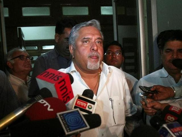 Vijay Mallya interacts with journalists in New Delhi.