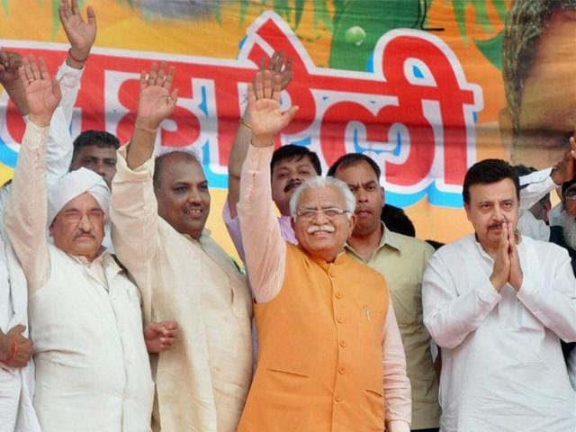 Haryana chief minister Manohar Lal Khattar during a rally in Mewat district of Haryana on Sunday.