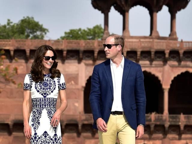 Britain's Prince William, and his wife, Kate, the Duchess of Cambridge, during their visit to the Taj Mahal in Agra.