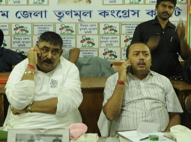 TMC strongman Anubrata Mondal with his party workers at the Bolpur party office after casting his vote on Sunday.